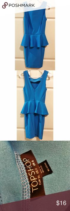 Topshop Peplum dress. Topshop size 2 Peplum dress. Perfect condition. New without tags. Beautiful blue! Topshop Dresses Mini