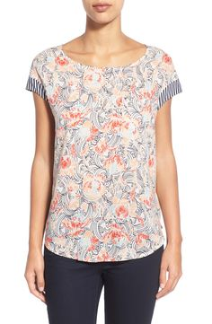 THIS is adorable!! Caslon® Multiple Print Mixed Media Tee (Regular & Petite)