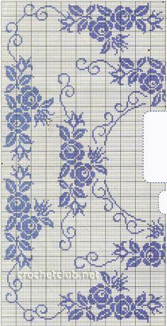 Cross Stitch Borders, Cross Stitch Rose, Cross Stitch Flowers, Cross Stitch Designs, Cross Stitching, Cross Stitch Embroidery, Cross Stitch Patterns, Filet Crochet Charts, Crochet Diagram