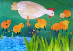 painted paper collage (chicks= 2 circles plus details) shapes