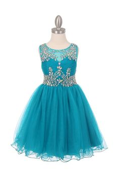 Flower girl dress teal tulle with exquisite hand by CreativeCabral