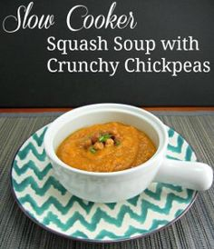 If you're in search of slow cooker squash recipes for the fall season, this recipe for Slow Cooker Squash Soup with Crunchy Chickpeas is a t...