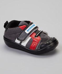 Look at this #zulilyfind! Skidders Black & Red Stripe Casual Sport Gripper Shoe by Skidders #zulilyfinds