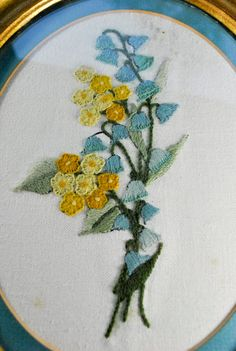 Floral Embroidery Hangings Set of Two Framed by kimple674250,