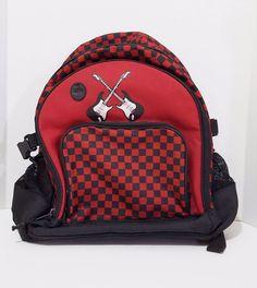Gymboree Backpack Book Bag Unisex Guitars Black Red Shoulder Straps Short Handle #Gymboree #Backpackorbookbag