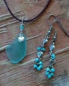 "Blue Sea Glass Jewelry Necklace Earrings 18"" Cord Valentine Heart Casual Dainty #Handmade #Pendant"