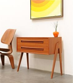 narrow mid century modern hall table or cabinet with drawers Plywood Furniture, Plywood Interior, Mod Furniture, Danish Modern Furniture, Mid Century Modern Furniture, Vintage Furniture, Furniture Design, Eames, Plywood Projects
