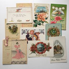10 vintage birthday cards and postcards 1910s-50s ~ ephemera for projects collectibles from MilkweedVintageHome by MilkweedVintageHome on Etsy