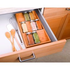 Tidy your spice bottles and jars with Seville Classics' Bamboo Spice Rack Cabinet Drawer Tray Organizer. Constructed of solid all-natural, attractive bamboo. Rack features three slanted shelves, angled so that jar labels can be read easil Spice Organization, Kitchen Cabinet Organization, Kitchen Storage, Storage Cabinets, Drawer Spice Rack, Magnetic Spice Racks, Spice Storage, Drawer Storage, Spice Bottles