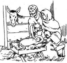 Joseph Mary Baby Jesus Coloring Page