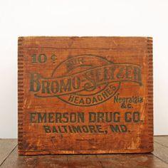 Antique Apothecary Bromo Seltzer Wooden Crate via Etsy