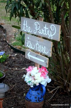 Wedding Signs Cursive Rustic Wedding. Shabby Wedding. Country Wedding Signs. Directional Arrow Signs. Road Signs. With Stake. $50.00, via Etsy.