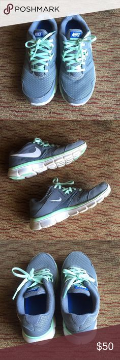 NIKE Mint Green & Gray Sneakers Cute and comfortable Nike sneakers! Used gently so in great condition. No signs of wear except dirt marks on the bottome that can easily be cleaned off. Size 7. Nike Shoes Sneakers