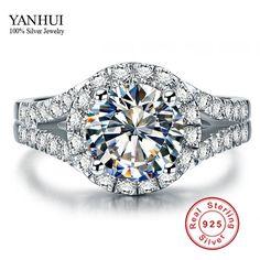 Yanhui real 925 sterling zilveren ring met S925 stempel 3 karaat cz diamond trouwringen voor vrouwen ring maat 4 5 6 7 8 9 10 YR001
