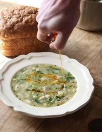 Cannellini bean and leek soup with chilli oil