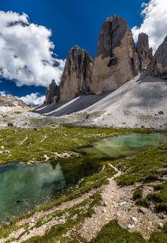 Reflection,Tre Cime di Lavaredo, Dolomites by Europe Trotter on 500px..... #reflection #mountain #montagne #Italy #Italie #Dolomites #TreCimediLavaredo