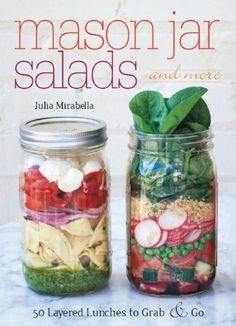 Grab and go salads packaged in mason jars seem all the rage. Mason Jar Salads and More is filled with recipes. #review