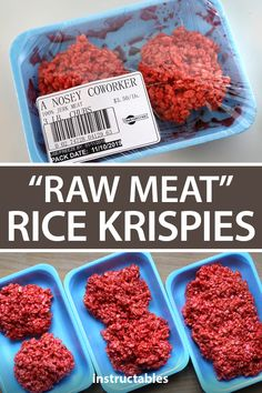 Raw Meat Rice Krispies These creepy-looking snacks are actually peanut butter flavored Rice Krispie treats that have been made to look raw ground meat. Halloween Cocktails, Halloween Desserts, Hallowen Food, Halloween Appetizers, Halloween Dinner, Halloween Food For Party, Spooky Halloween, Halloween Treats, Halloween Rice Krispy Treats