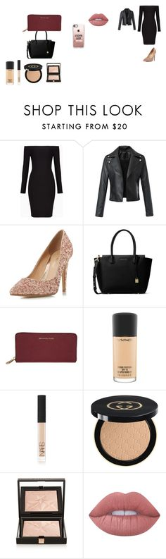 """""""dinner date"""" by heyitsfern on Polyvore featuring BCBGMAXAZRIA, Head Over Heels by Dune, MICHAEL Michael Kors, MAC Cosmetics, NARS Cosmetics, Gucci, Givenchy, Lime Crime and Casetify"""