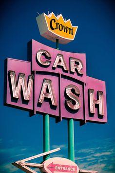 Crown Car Wash Vintage Neon Sign in West Los Angeles.
