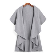 SheIn(sheinside) Lapel Dip Hem Loose Grey Coat ($15) ❤ liked on Polyvore featuring outerwear, coats, grey, grey coat, lapel coat, short coat and gray coat