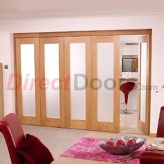 Image of Nuvu Roomfold Porto Oak 5 Door Set 4 to Left - Frosted Glass