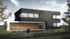 Architectuur moderne villa stijlvolle vormgeving en materialen Villa Plan, Prefab, Luxe Villa, House Plans, Garage Doors, How To Plan, Mansions, House Styles, Outdoor Decor
