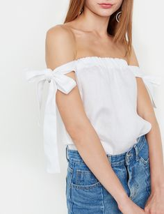 Pretty white linen off the shoulder top with white side arm ties. Trendy Tops For Women, Long Skirts For Women, White Shirts Women, T Shirts For Women, Clothes For Women, White Women, Striped Top Outfit, Shirt Style, Cool Outfits