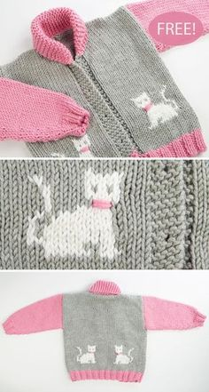Free Knitting Pattern for Child's Chunky Cat Jacket - Long-sleeved cardigan with. Free Knitting Pattern for Child's Chunky Cat Jacket - Long-sleeved cardigan with shawl collar and kittens on the front a. Baby Knitting Patterns, Baby Sweater Knitting Pattern, Knit Baby Sweaters, Free Knitting, Crochet Patterns, Kids Knitting, Knitting Charts, Knitting Stitches, Crochet Ideas