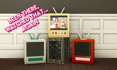 BEEN THERE, WATCHED THAT AGAIN TV – by amoebae Recolour of the base game Been There, Watched That TV, in 50 colours. I've also changed the tuning to that of the high-end table-top TV, because this is my favourite TV and I don't like sacrificing all...