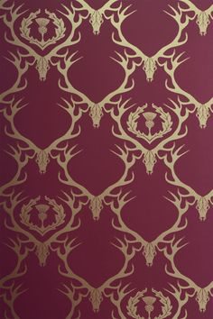 Stag skulls and thistle in a damask-style repeat.   Width: 68.5 cms / 27 inches Match: Straight Match Match Length: 61 cms / 24 inches Price: £78 per 10 meter roll    * Please get in touch for delivery costs when ordering more than 10 rolls.