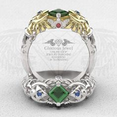 Glorious Zelda Ocarina of time zora inspired ring with CZ