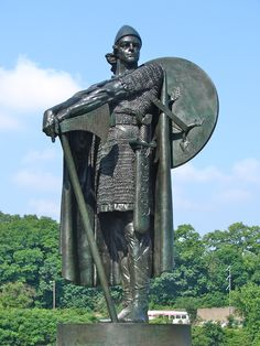 Statue of Thorfinn Karlsefni the first Norse explorer to attempt to truly colonize the newly discovered land of Vinland