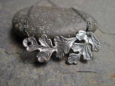 SALE Silver Oak Leaf Necklace in Oxidized Sterling Silver, Handmade Silver Oak Leaf Pendant Necklace on Etsy, $48.00