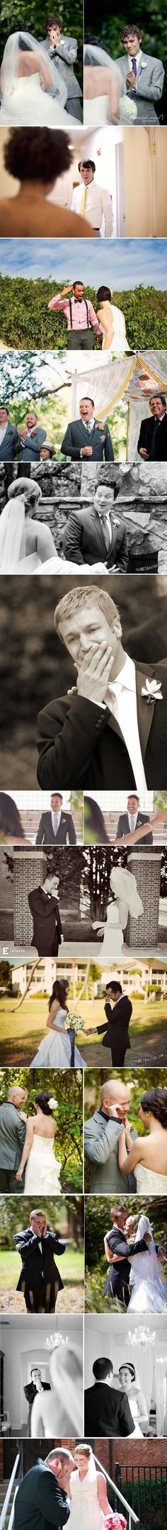 Grooms blown away by their beautiful brides… These are so sweet.