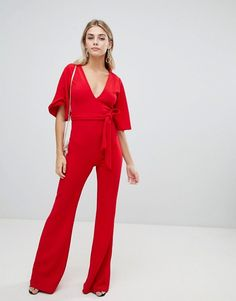 a8bc2e6df611 Missguided plunge kimono sleeve jumpsuit. ASOS