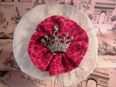 Jeweled Tiara Hot Pink Cheetah White Satin Headband by COUTURETHIS