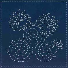 Sashiko Pre-printed Sampler - Sashiko Southwest - Early Morning Blooms
