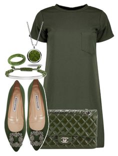 """""""Green"""" by amazing-crazy-love ❤ liked on Polyvore featuring Boohoo, Chanel, Manolo Blahnik, Marlin Birna, Thomas Sabo and Dinosaur Designs"""