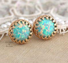 Mint Opal Stud earrings Green bridesmaids gift  14k by iloniti, $43.00