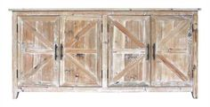 Fir & MDF Cabinet with 4 Doors in Distressed Finish
