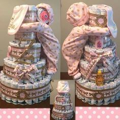 Check the webpage for more info about diaper cake centerpieces - Map out the baby shower ceremony well in advance. Start planning when you can if you wish probably the most options to be available. Baby Shower Cakes, Idee Baby Shower, Shower Bebe, Baby Shower Diapers, Baby Shower Themes, Baby Boy Shower, Baby Shower Gifts, Baby Gifts, Shower Ideas