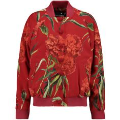 Dolce & Gabbana Floral-print jacquard bomber jacket ($690) ❤ liked on Polyvore featuring outerwear, jackets, coats & jackets, red, floral print jacket, red bomber jacket, slim fit bomber jacket, slim jacket and embroidered jacket