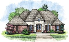 4 Bedroom French Country Home Plan - 56319SM | Acadian, European, French Country, Southern, 1st Floor Master Suite, Butler Walk-in Pantry, PDF, Split Bedrooms, Corner Lot | Architectural Designs