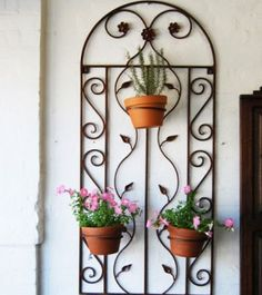 For C Black Wrought Iron Planter Metal Art Wall Decor Garden