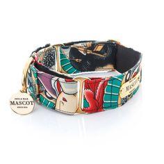 Collar MASCOT GRANDVALIRA martingale para perros, ed. limitada, con preciosa tela de inspiración oriental, geishas y calaveras. Muy evocadora. Perfecta para los amantes de los tatuajes. 100% algodón. Pieza sobre NYLON NEGRO de gran calidad. Los herrajes son DORADOS de gran resistencia y gran carga de fuerza. Incluyen una placa y una medalla MASCOT #Mascot #perro #collar #collarperro #accesorios #gifts #regalos #style #dog #doglovers #Correa #leash #grandvalira #martingale Pet Collars, Dog Supplies, Pet Shop, Cuff Bracelets, Dog Fashion, Fashion Ideas, Belt, Dog Accesories, Cats