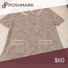 Anthropologie blouse with cute cream accent Worn twice!  Anthro top that is adorable!  Looks Great with jeans or skinny black pants - can easily go into fall with a Jean jacket on top. Anthropologie Tops Blouses