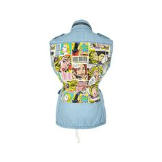 Comic cartoon graffiti denim vest jacket