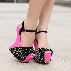 Sexy pink fashion platform sandals
