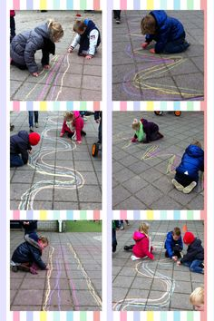 Large scale writing movements using chalk